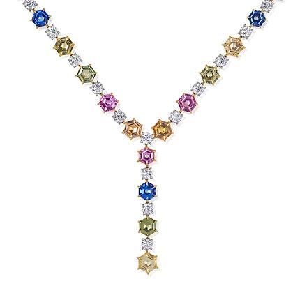 "Hexagonal Sapphire & Diamond ""Y"" Necklace"