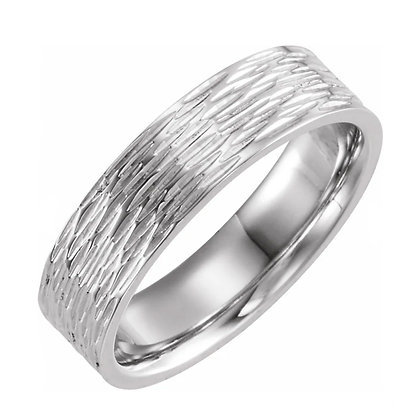 Bark-Texture Men's Wedding Band