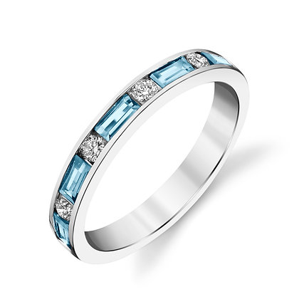 Aquamarine & Diamond Band