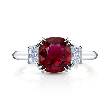 Ruby & Diamond 3-Stone Ring