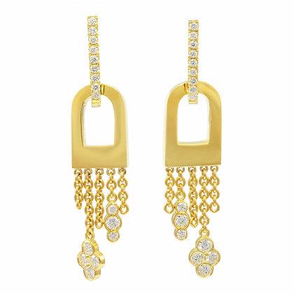 Diamond Open Dome Drop Earrings