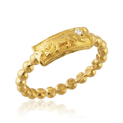 Diamond Lioness Bubble Band Ring