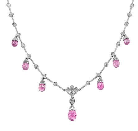 Pink Sapphire Briolette & Diamond Necklace