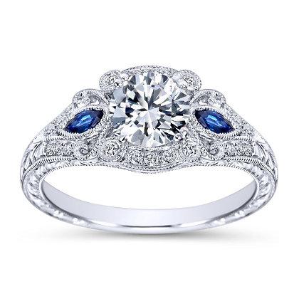 Fancy 3-Stone Diamond & Sapphire Engagement Ring