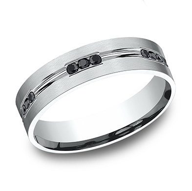 Black Diamond Stations Men's Wedding Band
