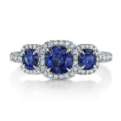 3-Stone Sapphire Diamond Halo Ring