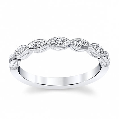 Diamond Marquise-Shaped Halfway Wedding Band