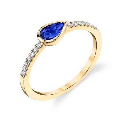 Pear Blue Sapphire Ring
