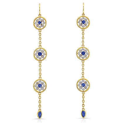 Sapphire 3-Tier Mandala Earrings