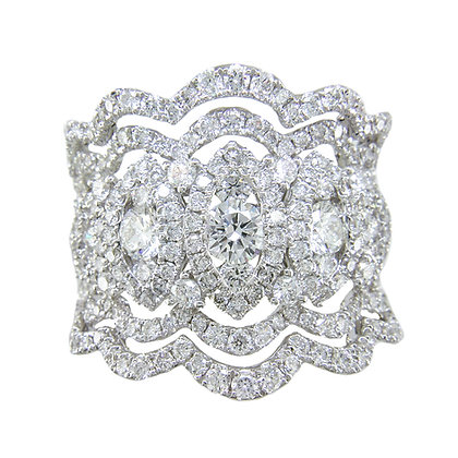 Scalloped Diamond Wide Band