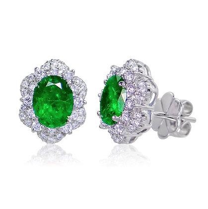 Oval Emerald & Diamond Halo Stud Earrings