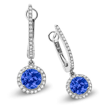 Blue Sapphire with Diamond Halo Huggies