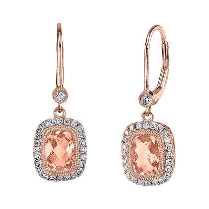 Cushion Morganite & Diamond Drop Earrings