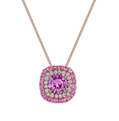 Pink Sapphire & Diamond Double Halo Pendant
