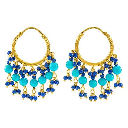 Lapis Lazuli & Turquoise Hoops