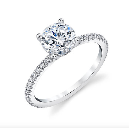 Sterling Silver Round Engagement Ring