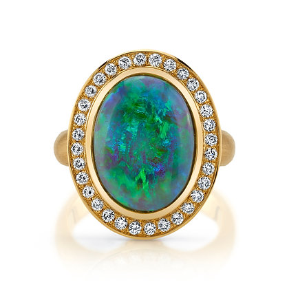 Opal, Tanzanite, & Diamond Ring