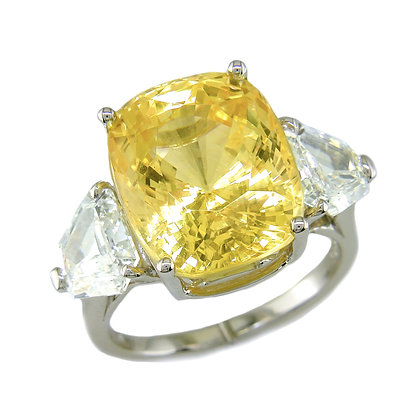 Cushion Yellow Sapphire & Diamond 3-Stone Ring