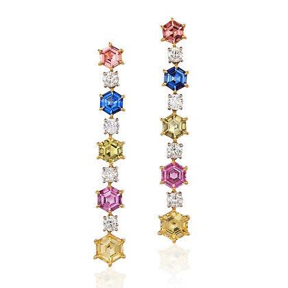 Hexagonal Sapphire & Diamond Earrings