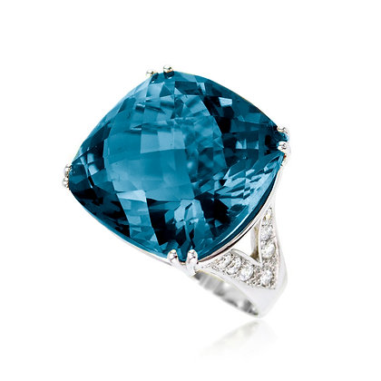 Cushion London Blue Topaz Ring