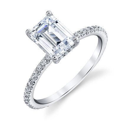 Sterling Silver Emerald-cut Diamond Semi-mount Engagement Ring