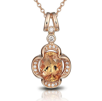 Oval Topaz & Diamond Pendant