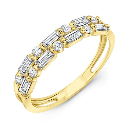 2-Row Diamond Shared Prong Band
