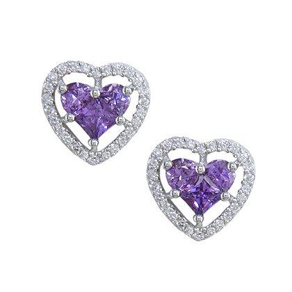 Purple Sapphire Heart Studs