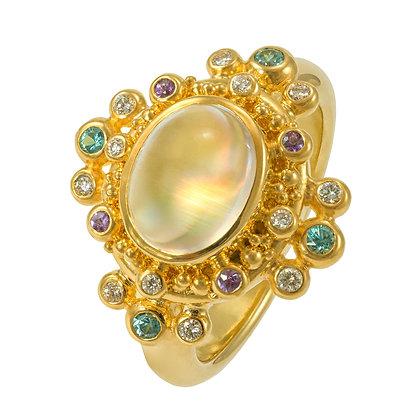 Moonstone & Multicolored Gemstone Ring