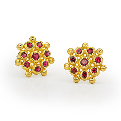 Red Spinel Snowflake Stud Earrings