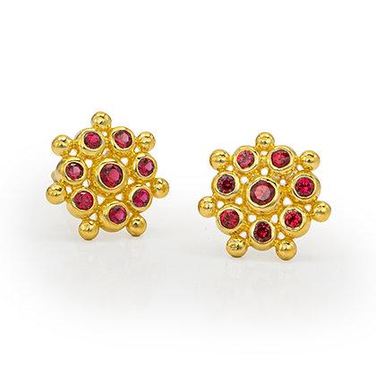 Red Spinel Snowflake Stud Earrings