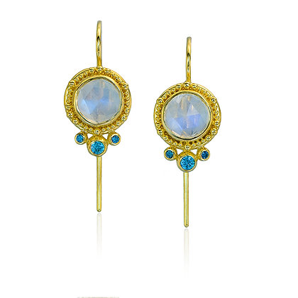 Moonstone & Blue Zircon Earrings