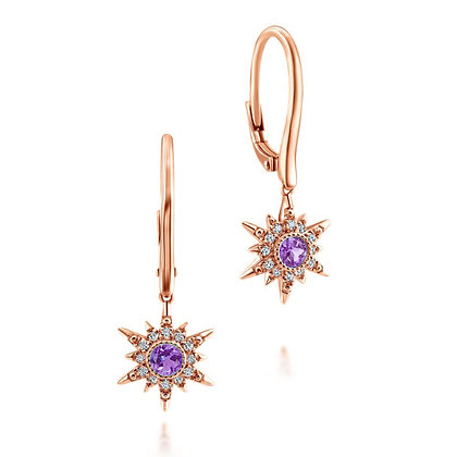 Amethyst Starburst Dangle Earrings