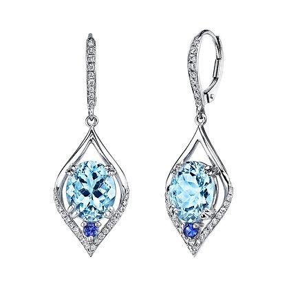Aquamarine, Sapphire & Diamond Earrings