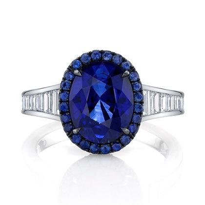 Oval Sapphire & Diamond Baguette Ring