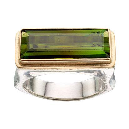 Green Tourmaline Bezel Set Ring
