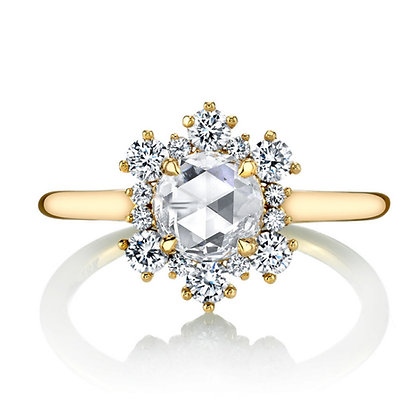 Rose-cut Ring with Scattered Diamond Halo