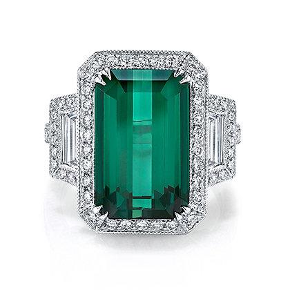 Green Tourmaline Emerald-Cut Ring