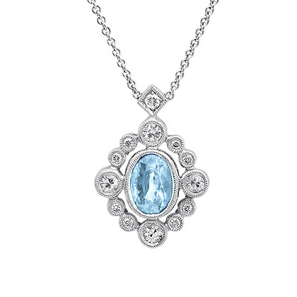 Aquamarine & Diamond Milgrain Bezel Pendant