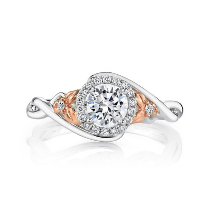 Round Semi-Mount Engagement Ring with Floral Sides
