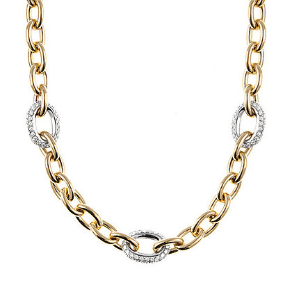 Chain Necklace with 3 Diamond Links