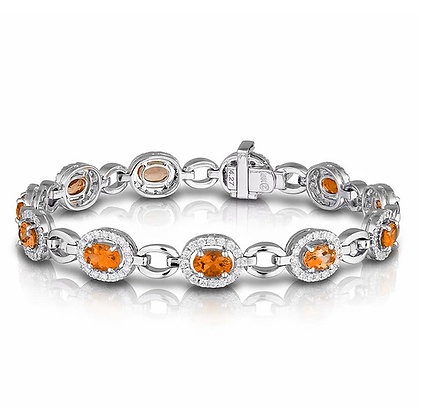 Spessartite Garnet & Diamond Bracelet