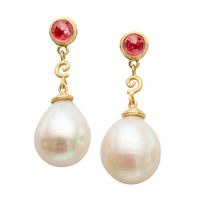 Pearl & Pink Sapphire Dangle Earrings