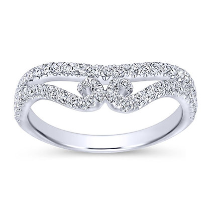 Swirling French Pavé Set Wedding Band