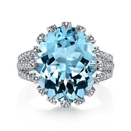 Aquamarine, Paraíba Tourmaline, & Diamond Eternity Prong-set Ring
