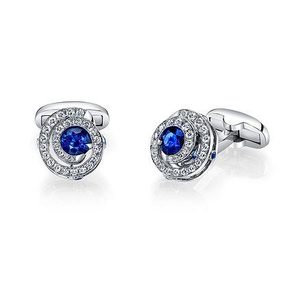 Sapphire & Diamond Swirl Cufflinks