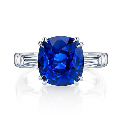 Cushion Sapphire Ring with Baguette Side Stones