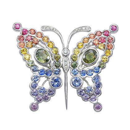 Rainbow Sapphire & Diamond Butterfly Brooch/Pendant