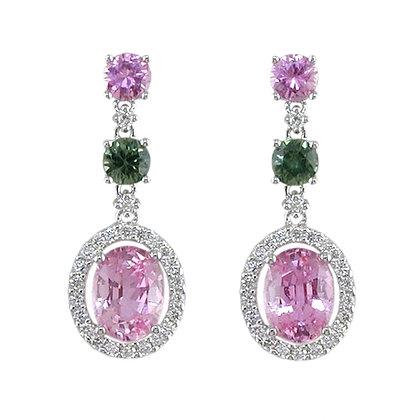 Pink & Green Sapphire Dangle Earrings