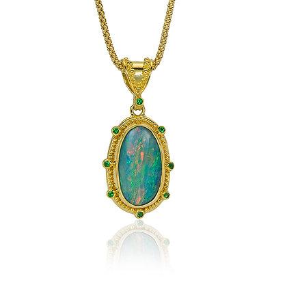 Boulder Opal and Tsavorite Garnet Pendant